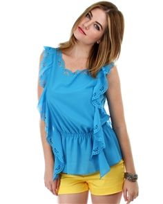 Blue Sleeveless cinched waist blouse with cutout ruffle sides - get this adorable Summer look @ Clothing Showroom