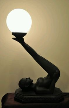 Nude Lady Art Deco Table Lamp Woman holding Globe Black