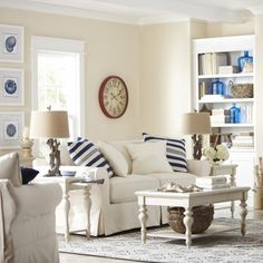 (blue glass in bookshelves) A Decorating Style that Doesn't Get Dated! - The Inspired Room