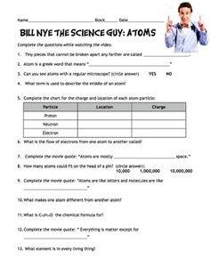 Differentiated Video Worksheet, Quiz & Ans. for Bill Nye - Climate ...