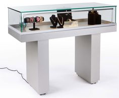 $788 - 48x20x38H - Semi-Gloss Black Jewelry Display Case with Hydraulic Lift Opening