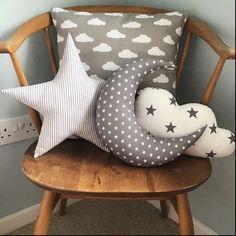 Moon Star Cloud Pillows, Grey Cushion Set, Star Nursery Decor, Children's Bedroom Accessories… – baby pillow star Star Themed Nursery, Star Nursery, Nursery Themes, Nursery Decor, Moon Nursery, Nursery Fabric, Moon Pillow, Cloud Pillow, Pillow Set