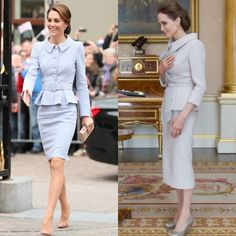 Kate's look was compared to past looks of Princess Diana and Jackie Kennedy Onassis. The Duchess' look was also compared to Angelina Jolie's Ralph & Russo skirt suit worn during her 2014 visit with the Queen.