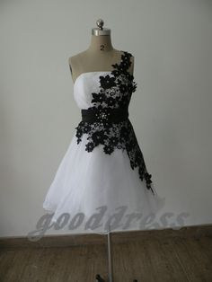 2013 exquisit white and black lace A Line zipper back knee length short bridesmaid dress party prom cocktail homecoming dress gowns. $106.00, via Etsy.