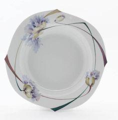 Soup plate, Tulip and poppy, white rim, ø 23,5 cm