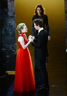 Les Mis (2012) | Performing on the 2013 Oscars Stage:  Samantha Barks (Eponine), Amanda Seyfried (Cosette) and Eddie Redmayne (Marius).