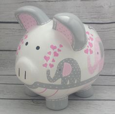 Personalized Piggy Bank Artisan hand painted ceramic custom