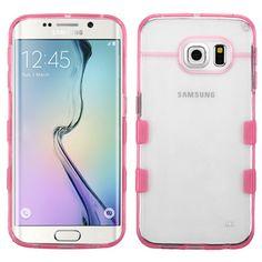 MYBAT Samsung Galaxy S6 Edge Hybrid Gummy Case - Clear/Pink