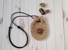 Crochet Crystal Pouch Necklace With Adjustable Black Leather Cord and Embossed Leather Button