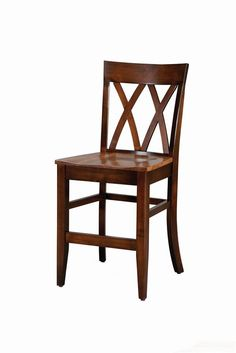 Amish Herrington Bar Chair - This beautiful handcrafted Amish bar chair possesses distinct French Country style influences with an overall contemporary and modern aire. Certain design elements, such as the cross back slats, point to the French Country style, while the sophistication and details go beyond the traditional definition of that style.