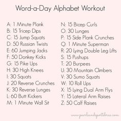Word of the day Alphabet Exercise Challenge  www.pearlsandsportsbras.com 
