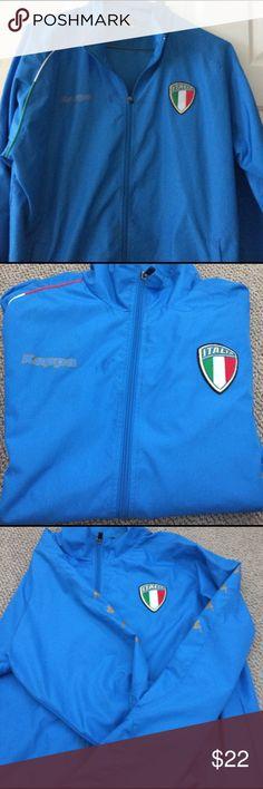 Men's Italia Kappa Windbreaker Attention all soccer fans!! Men's Kappa zip up wind breaker. Light blue with Italia logo. Brand new! Kappa Jackets & Coats Windbreakers