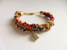 EMBR-22159 A unique bracelet with Kimono fabric with by EIKORYTHM
