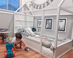 Toddler Floor Bed, Toddler Rooms, Montessori Bed, Bed Bumpers, Bed With Posts, Kura Bed, Baby Room Design, House Beds, Kid Beds