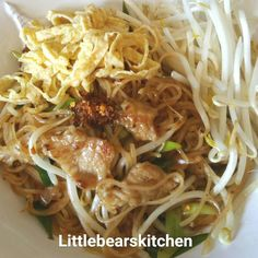 Stir fried rice stick noodle in tamarind n soya bean paste sauce with pork and egg strips.
