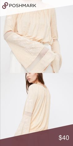 Free People Bonjour Bell Sleeve in Peach NWT. Reasonable offers accepted. Key word being reasonable. Repeat lowballers will be blocked. Be respectful and happy poshing 😊 Free People Tops Blouses