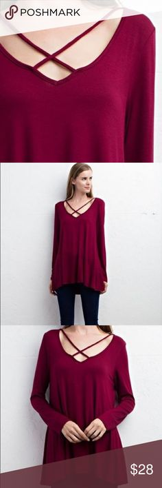 *Today Only*Long sleeve top with criss cross neck Long sleeve top with criss cross neck. Shirt is lightweight. Made in USA. Tops Tees - Long Sleeve