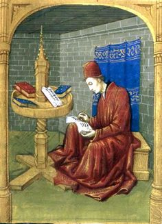 Jean de Meun (c. 1240 – c. was a French author best known for his continuation of the Roman de la Rose. // Jean de Meun at work in his study, before a book wheel. From Jean de Meun, Roman de la Rose, mid western France. Medieval Life, Medieval Art, Medieval Manuscript, Illuminated Manuscript, Jean Fouquet, Medieval Furniture, Medieval Paintings, Empire Romain, Late Middle Ages
