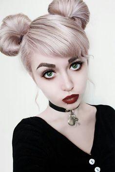 Hair Styles Ideas : Nu-Goth Fashion Tip Nº Nu-Goth with Pinkish Lavender Bun Dyed Hair - ninjaco. Bun Hairstyles, Pretty Hairstyles, Modelo Albino, Pigtail Buns, Nu Goth Fashion, Latex Fashion, Kelly Osbourne, Grunge Hair, Goth Hair