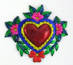 """MEXICAN """"HEART W/FLOWERS"""" TIN HEART MILAGRO ORNAMENT"""