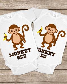 Monkey See Do Monkeys Onesie Twin Twins Onesies by TwinsiesTotShop, $30.00