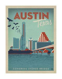 Congress Avenue Bridge, Austin, Texas Art Print at AllPosters.com