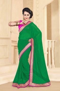 Buy Green Georgette Party Wear Saree Online in low price at Variation. Huge collection of Party Wear Sarees for Party, Festivals, Engagements and Ceremonies. #party #partywearsarees #sarees #onlineshopping #latest #lowprice #variation. To see more - https://www.variationfashion.com/collections/party-wear-sarees