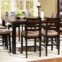 Steve Silver Boulevard 5-Piece Counter Height Dining Table Set in Dark Merlot