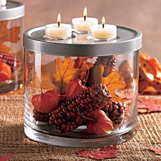 """Fall Splendor"" 3-In-1 Elevated Candle Holder by #PartyLite - Click for more decorating ideas"