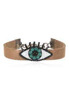 Evil Eye Bracelet with Swarovski crystals. EKATERINI Swarovski Bracelet, Swarovski Crystals, Evil Eye Bracelet, Jewelry Shop, Pop Art, Jewelery, Eyes, Brown, Bracelets