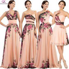c49986faf914 Cheap Mixed Style Grace Karin Chiffon Flower Print Pleat Wedding Party  Dress Long Formal Dresses Evening