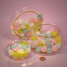 Round Gold Rim Clear Plastic Containers