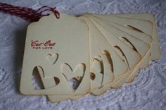 Handmade Cut Out for Love Gift Tags  Valentine's Day by wkburden, $5.25