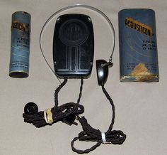 "Vintage Two-Piece Acousticon Bone Conduction Hearing Aid, Model A-55 ""Symphonic"", Circa 1942 - 1945."