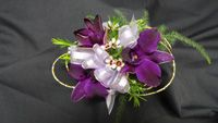 Dendrobium Orchid Corsage with wire accent.