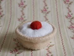 Cherry Bakewell Tart Recycled Felt Food Sculpture | FiveGoMad
