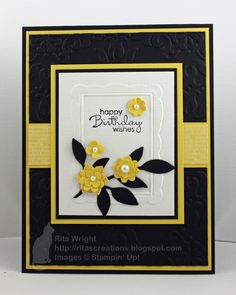 Birthday Wishes card...luv this color combo of black and white with poos of bright yellow... sweet layered flowers with pearls at the center...Stampin' Up!