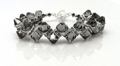 Beaded Bracelet Adjustable Swarovski Crystal Black Diamond Silver Gray Grey in Sterling Silver