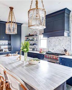 New Kitchen Cabinets, Kitchen Paint, Home Decor Kitchen, Home Kitchens, Kitchen Countertops, Blue Kitchen Ideas, Quartz Countertops, Coastal Kitchens, Rustic Kitchen