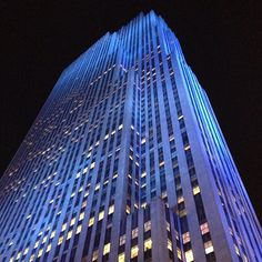 30 Rock lit in blue for Autism Awareness Day