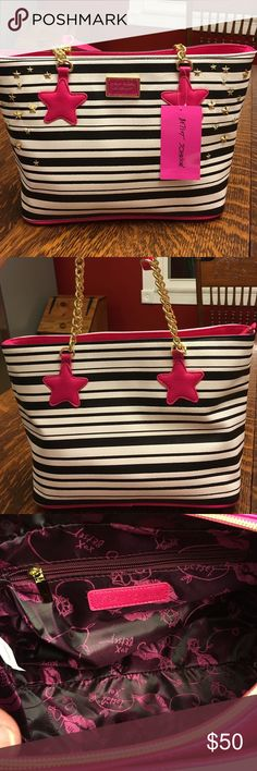 Women's Purse Betsey Johnson tote bag!  This tote is blue and white striped with pink stars and pink and gold handles. There are gold stud stars on the front. Very cute!! This bag is brand new with tags attached and retails for $98 Betsey Johnson Bags Totes