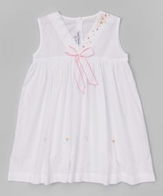 Another great find on #zulily! White & Pink Rose Bow Dress - Infant, Toddler & Girls by Sweet Dreams #zulilyfinds
