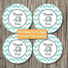 Thank You Gift Bag Tags DIY Favor Tags Baby Shower Birthday Party by BumpAndBeyondDesigns, $4.00