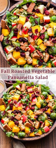 Fall Roasted Vegetable Panzanella Salad is made with butternut squash, brussels sprouts, apples, dried cranberries, pecans, pepitas and baby kale then tossed together in a cider vinaigrette. It's the perfect fall salad or colorful side dish for your Thanksgiving table! #panzanella #salad #brusselsprouts #butternutsquash #glutenfree #vegan #thanksgiving