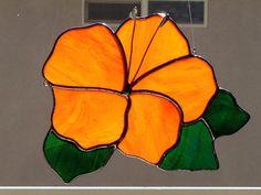 Stained Glass Orange Hibiscus Flower Suncatcher by FoxStainedGlass