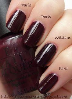 Tines Kosmetikblog: Vergleich William Tell Me About OPI / We'll Always Have Paris