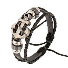 Anchor - Leather Punk Bracelet