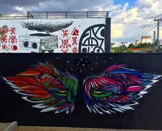 by by by viberzone Angel Wings Art, Bird Wings, Graffiti Wall Art, Wall Murals, Creative Art, Art Pieces, Birds, Graphic Design, Make It Yourself