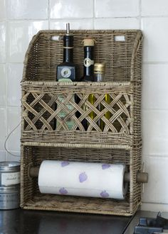 €69,95 Rustic Rattan Kitchen Roll Holder #living #interior #rivieramaison
