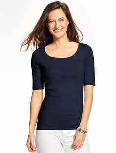Pima Cotton Rounded Square-Neck Tee ($29.50)